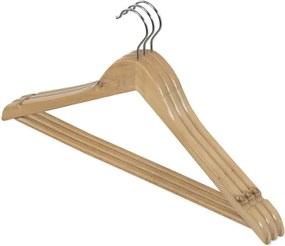 Sada 3 drevených vešiakov so zárezmi a nohavicovou tyčou Domopak Living