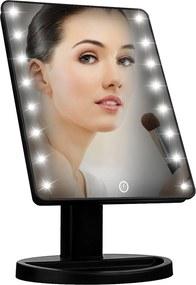 BEZDOTEKU Kozmetické make-up zrkadlo s led osvetlením čierné