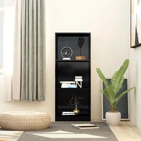 vidaXL Knižnica s 3 policami, lesklá čierna 40x24x108 cm, drevotrieska