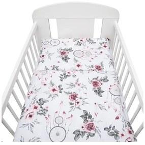 NEW BABY Kvety a pierka 2-dielne posteľné obliečky New Baby 90/120 cm biele kvety a pierka Biela  