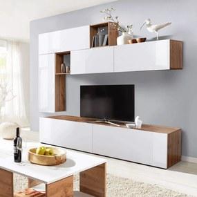 Obývacia stena, biela extra vysoký lesk/dub wotan, MIRALDA