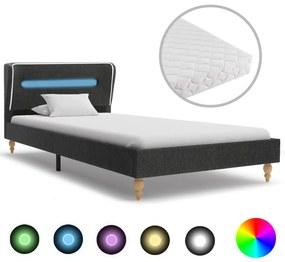 vidaXL Posteľ s LED a matracom tmavosivá 90x200 cm jutová