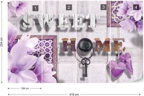 Fototapeta GLIX - Sweet Home Flowers Vintage Purple + lepidlo ZADARMO Vliesová tapeta  - 416x254 cm