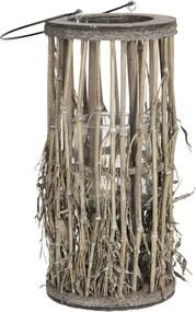 Lucerna so skleneným valcom z bambusových stoniek s listami - Ø 18 * 40 cm
