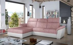 Moderná rohová sedačka Trango, biela / ružová Roh: Orientace rohu Pravý roh