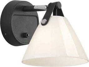 STRAP | čiernobiele nástenné svietidlo z kože a skla