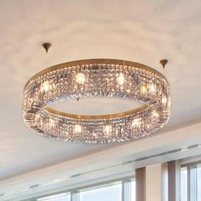 Lesklá krištáľová závesná lampa Kruh 110 cm zlatá