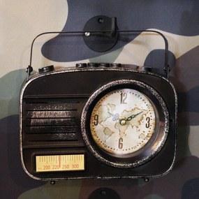 Retro hodiny Rádio, čierne