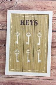"""Drevený stojan na kľúče """"KEYS"""" (28x40 cm)"""