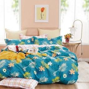DomTextilu Farebné obojstranné modré posteľné obliečky s motívom kvetov 2 časti: 1ks 140 cmx200 + 1ks 70 cmx80 Modrá 70 x 80 cm 38690-183042