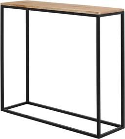 Čierny konzolový stolík s dubovou doskou Custom Form Julita