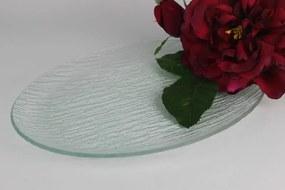 Sklenený tanier ovál ryhovaný 28cm
