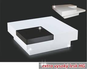 Konferenční stolek ELIOT biela HG/čierna lesk Tempo Kondela