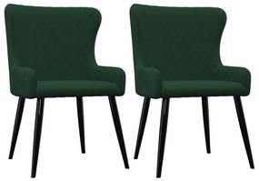 vidaXL Jedálenské stoličky 2 ks, zelené, zamat