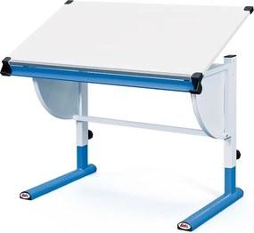 Polohovateľný písací stôl Cetrix, modrý/biely