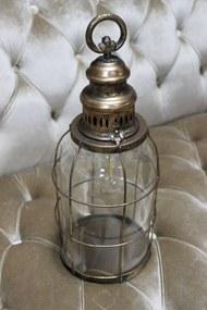 Starozlatý patinovaný svietiaci lampáš 41cm