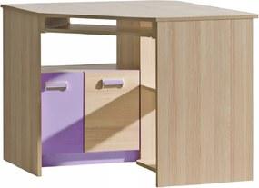 DL Rohový písací stôl LUCAS  L11 - fialový/zelený Farba: Fialová