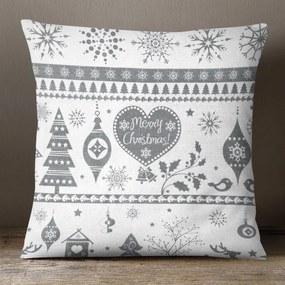 Goldea vianočná bavlnená obliečka na vankúš - vzor vianočné symboly na bielom 70 x 90 cm