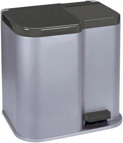 CURVER DUO 15L+6L odpadkový kôš 30x39,5x40cm strieborný 04027-491