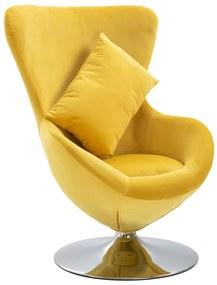 vidaXL Otočná stolička v tvare vajca s vankúšom žltá zamatová