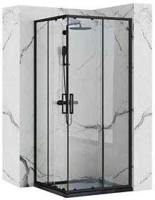 REA - PUNTO BLACK MAT sprchový kút  80 x 80 cm, číre sklo/čierny profil, REA-K4800
