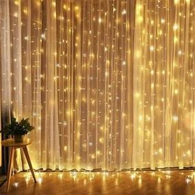Solight Okenný vianočný záves, 240 mini LED, 1,2 x 1,2 m, s časovačom