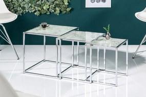 Set odkladacích stolíkov Factor sklo-mramor 3 ks
