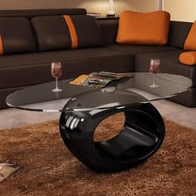 vidaXL Konferenčný stolík, oválna sklenená doska, vysoký lesk, čierny