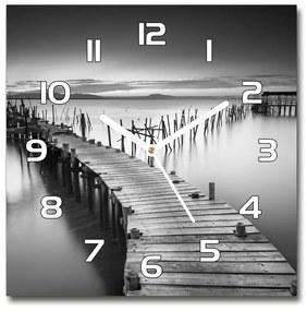 Sklenené hodiny na stenu Drevené mólo pl_zsk_30x30_f_91735833