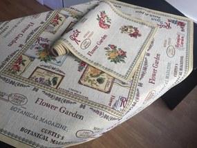 Dovoz EU Kolekcia - Gobelínové obrusy. textil - FLOWER garden Bavlna/Acryl/Pes 40x100 cm