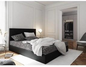 Manželská posteľ z ekokože s úložným priestorom 180x200 LUDMILA - čierna / sivá