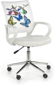 HALMAR Ibis detská stolička na kolieskach s podrúčkami biela / vzor motýle