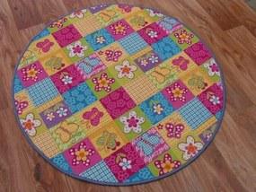 3kraft Detský guľatý koberec Butterfly & Flowers farebný