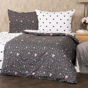 4Home Bavlnené obliečky Srdiečka, 220 x 200 cm, 2 ks 70 x 90 cm