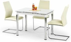 HALMAR Logan 2 sklenený rozkladací jedálenský stôl biela / chróm