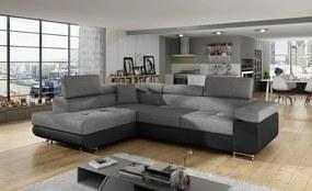 Moderní rohová sedačka Astra, černá/šedá Roh: Orientace rohu Levý roh