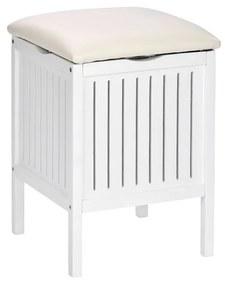 Biela drevená stolička do kúpeľne s úložným priestorom Wenko Oslo