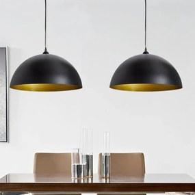 vidaXL Stropná lampa 2 ks, nastaviteľná výška, pologuľa, čierna