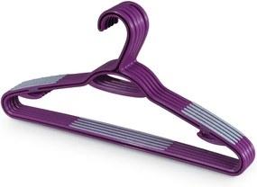 Sada 5 fialových vešiakov s nohavicovou tyčou Domopak Living