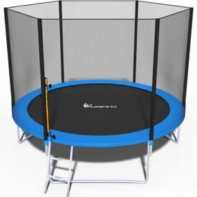 FunFit Detská záhradná trampolína 252 cm s vonkajšou sieťou a rebríkom