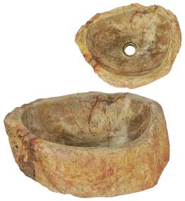 vidaXL Umývadlo 45x30x12 cm fosílny kameň krémové