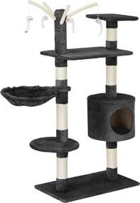 [en.casa]® Škrabadlo pre mačky - 65 x 35 x 130 cm - sivé
