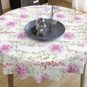 Goldea dekoračný obrus loneta - vzor maľované ružové kvety - guľatý Ø 60 cm