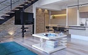 Biely dizajnový stolík do obývacej izby štvorcový Mary 60 x 60 cm