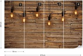 Fototapeta GLIX - Industrial Chic Retro Light Bulbs Wood  + lepidlo ZADARMO Vliesová tapeta  - 416x254 cm
