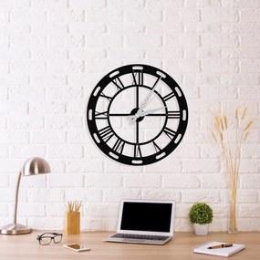 Čierne nástenné hodiny Roman Clock, 48 × 50 cm