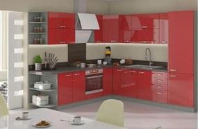 Luxusní rohová kuchyně Rosso, červený lesk