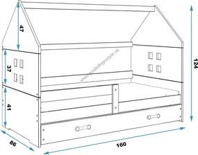 Domčeková posteľ DOMI 160x80cm BOROVICA - Biela - Biela