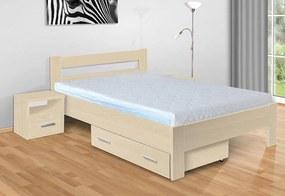 Nabytekmorava Drevená posteľ Sandra 200x140 cm farba lamina: buk 381, typ úložného priestoru: úložný priestor - šuplík, typ matraca: matraca 15 cm