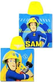 Setino · Pončo - osuška s kapucňou Požiarnik Sam - Hasič Sam - Fireman Sam - 100% bavlnené froté - 55 x 110 cm